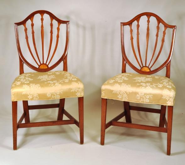 Wonderful Set 10 Hepplewhite Inlaid Shield Back Dining Chairs   Inv. #10398