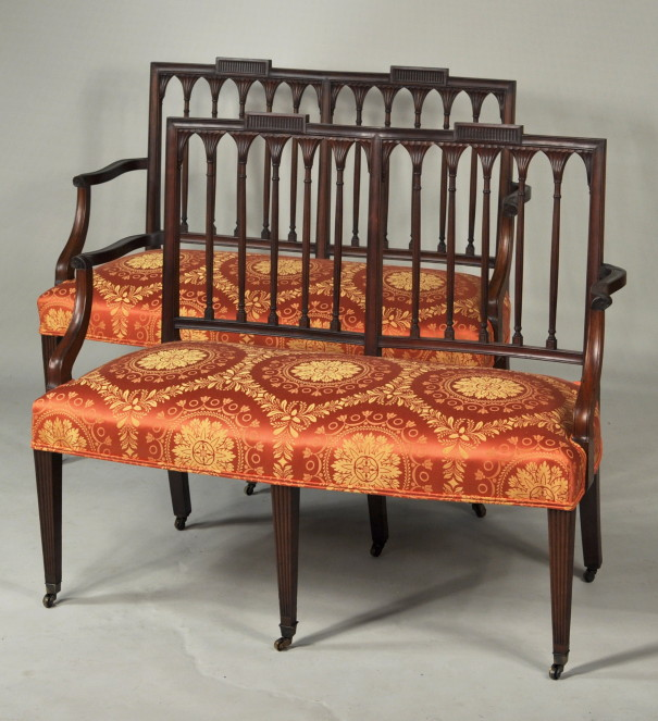 Pair Hepplewhite Carved Mahogany Double Chairback Settees - Inv. #10604