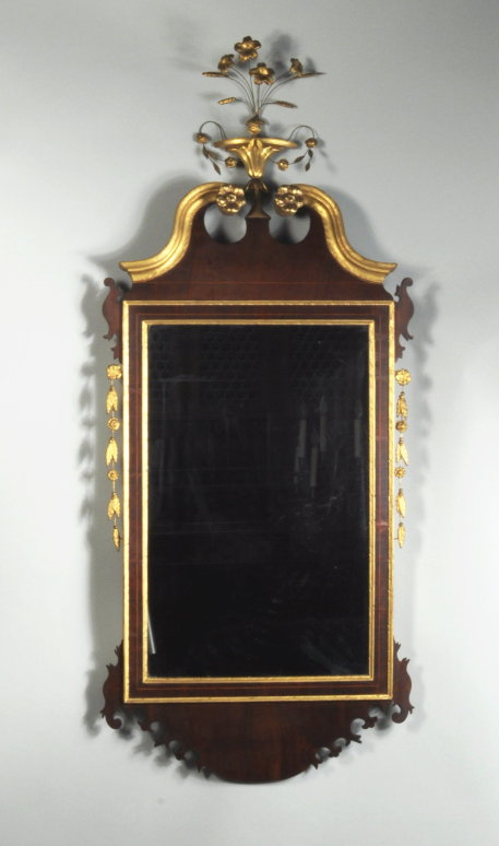 Hepplewhite Inlaid Parcel Gilt Mahogany Mirror - Thomas Schwenke Inc. - American Federal Furniture