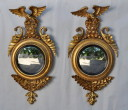 Pair Classical Carved and Gilded Convex Mirrors - Inv. #10387