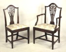 Set Ten Hepplewhite Carved Mahogany Dining Chairs - Inv. #10670